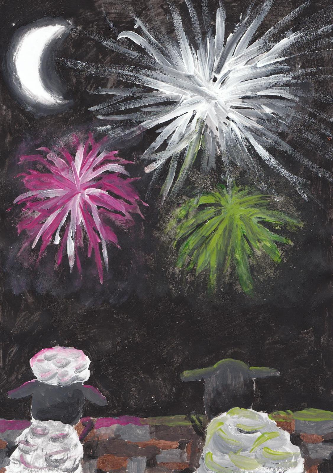 sheep with fireworks1