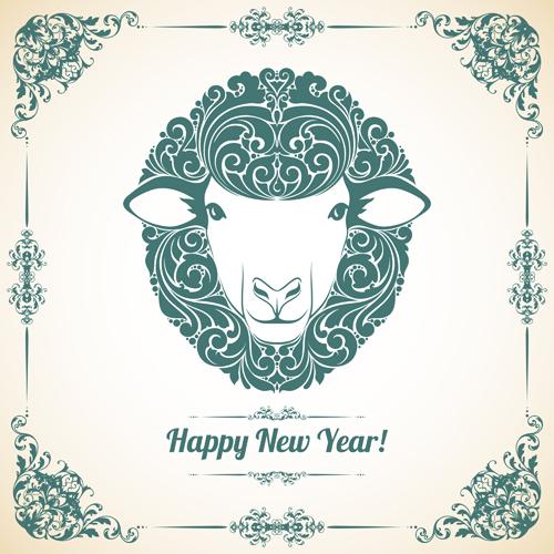 Sheep-new-year-2015-retro-vector-background-01